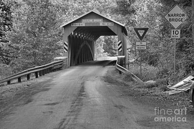 Photograph - Road To The Bistline Covered Bridge Black And White by Adam Jewell