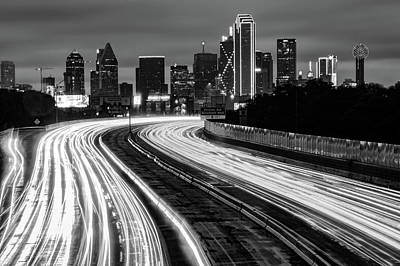 Photograph - Road To The Dallas Texas Skyline - Black And White Edition by Gregory Ballos