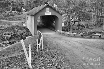 Photograph - Road To The Green River Covered Bridge Black And White by Adam Jewell