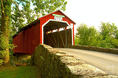 Photograph - Road To The New Germantown Covered Bridge by Adam Jewell