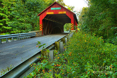 Photograph - Road Up To The Books Covered Bridge by Adam Jewell