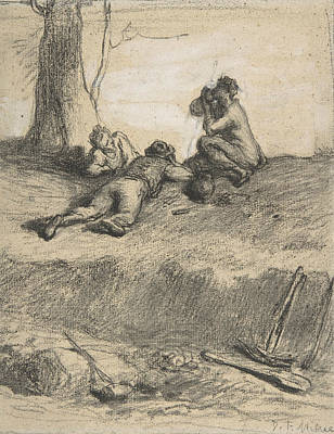 Drawing - Roadworkers At Lunch by Jean-Francois Millet
