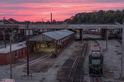 Polaroid Camera - Roanoke Sunrise Over the Rail Yard by Doug Ash