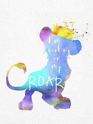 Animals Digital Art - Roar Quote The Lion King watercolor by Mihaela Pater