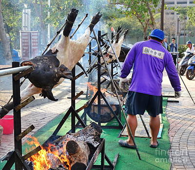 Photograph - Roasting Whole Pigs In Taiwan by Yali Shi