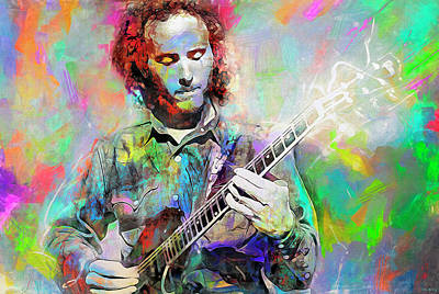 Musicians Mixed Media Royalty Free Images - Robby Krieger Royalty-Free Image by Mal Bray