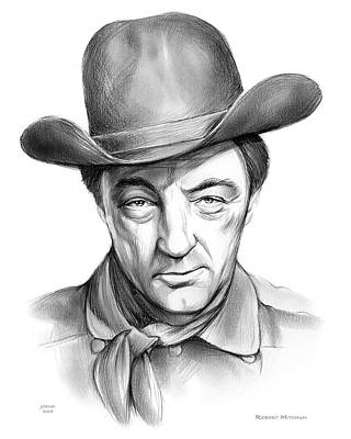 Drawing - Robert Mitchum Cowboy by Greg Joens