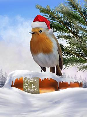 Digital Art - Robin Around The Christmas Tree by Mark Taylor