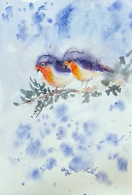 Painting - Robin Couple by Asha Sudhaker Shenoy