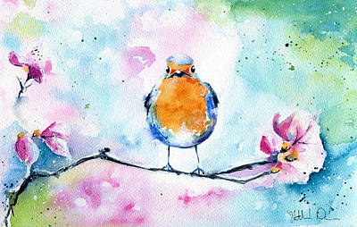 Painting - Robin by Dora Hathazi Mendes
