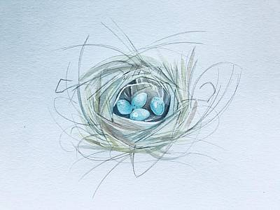 Popstar And Musician Paintings - Robins nest by Luisa Millicent