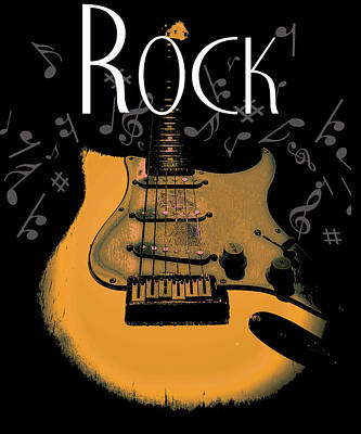 Digital Art - Rock Guitar Music Notes by Guitar Wacky