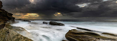 Photograph - Rock Ledge Seascape Panorama by Merrillie Redden