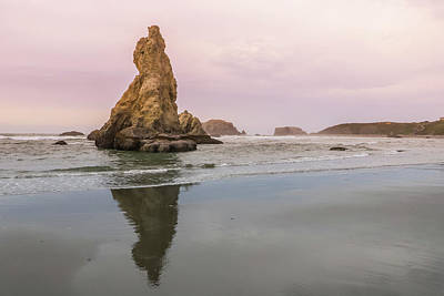 Photograph - Rock Spire Reflection, Bandon Beach, Oregon by Dawn Richards