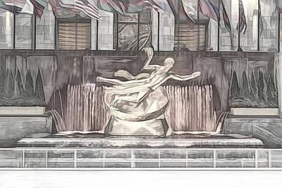 Digital Art - Rockefeller Center Sketch by Alison Frank