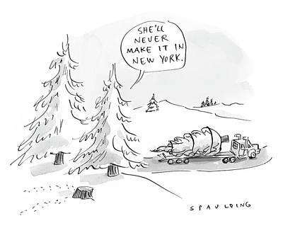 Cod Drawing - Rockefeller Christmas Tree by Trevor Spaulding