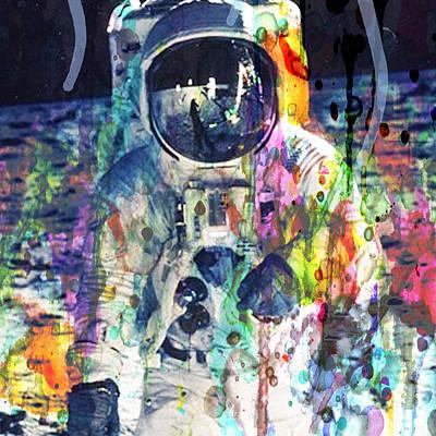 Painting - Rocket Man Moon Landing Astronaut  by Robert R Splashy Art Abstract Paintings