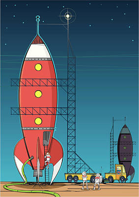 Flying Digital Art - Rocket On Launch Pad by Jcgwakefield