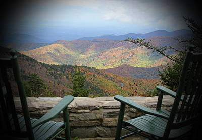 Mellow Yellow - Rocking Chairs On Mt Mitchell 2 by Cathy Lindsey