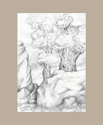 Drawing - Rocks And Trees by Ruth Renshaw