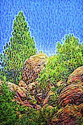 Digital Art - Rocky Cliff Pines by Joel Bruce Wallach