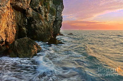 Photograph - Rocky Cliffs And Waves During Sunset by Yali Shi