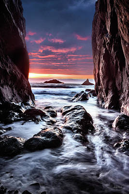 Photograph - Rocky Cove Sunset by Leland D Howard