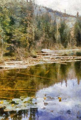 Digital Art - Rocky Mountain Lake With Lily Pads by Michelle Calkins
