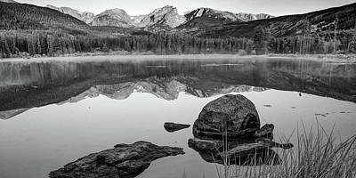 Photograph - Rocky Mountain Landscape Panorama Over Sprague Lake - Black And White by Gregory Ballos