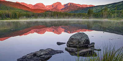 Landscapes Royalty-Free and Rights-Managed Images - Rocky Mountain Landscape Panorama over Sprague Lake by Gregory Ballos