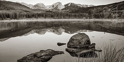 Photograph - Rocky Mountain Landscape Panorama Over Sprague Lake In Sepia by Gregory Ballos