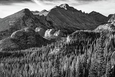 Photograph - Rocky Mountain Morning Landscape - Colorado Monochrome by Gregory Ballos