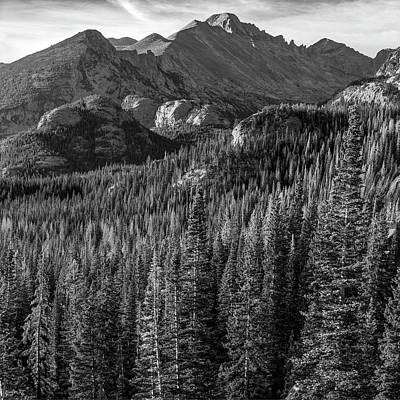 Photograph - Rocky Mountain National Park Peak Sunrise - Estes Park Colorado - Square Format Bw by Gregory Ballos