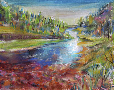 Pastel - Rocky River by Jean Batzell Fitzgerald