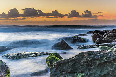 Photograph - Rocky Sunrise Seascape And Green Moss by Merrillie Redden