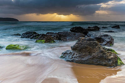 Photograph - Rocky Sunrise Seascape And Sun Rays by Merrillie Redden