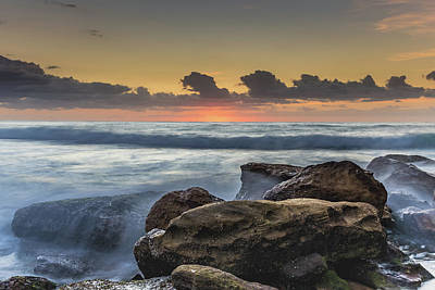 Photograph - Rocky Sunrise Seascape And Waves by Merrillie Redden