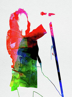Rock Band Wall Art - Mixed Media - Rod Stewart Watercolor by Naxart Studio