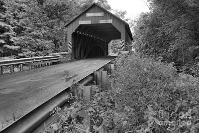Photograph - Rod Up To The Books Covered Bridge Black And White by Adam Jewell
