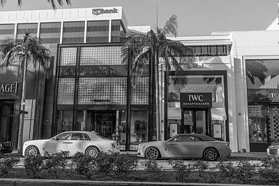 Photograph - Rodeo Drive And Roles Royces In Black And White  by John McGraw