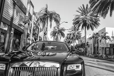 Photograph - Rodeo Drive Roles Royce And Palm Trees  by John McGraw