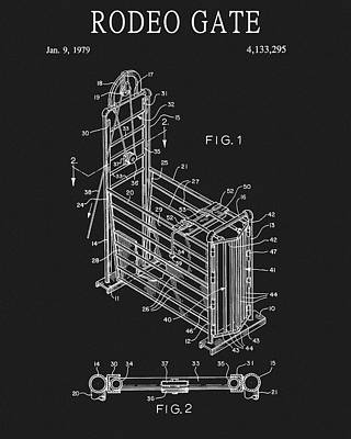 Drawing - Rodeo Gate Patent by Dan Sproul