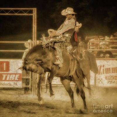 Digital Art - Rodeo Rider Bronco Busting Sepia One by Randy Steele