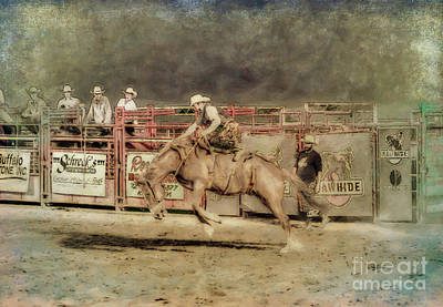 Digital Art - Rodeo Rider Bronco Busting Sepia Two by Randy Steele