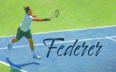 Digital Art - Roger Federer 1 by Joe Winkler