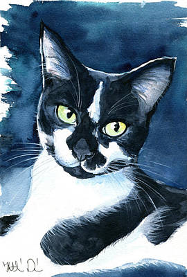 Painting - Rollie Tuxedo Cat Painting by Dora Hathazi Mendes