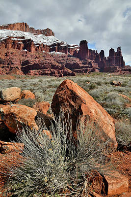 Photograph - Rolling Clouds Over Fisher Towers In Utah by Ray Mathis