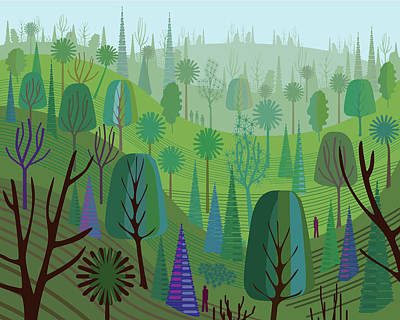 Digital Art - Rolling Hills And Trees by Charles Harker