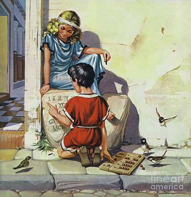 Painting - Roman Children Learning Their Numbers by Angus McBride