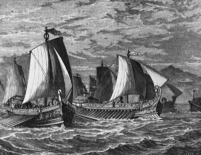 Roman Fleet Art Print by Hulton Archive